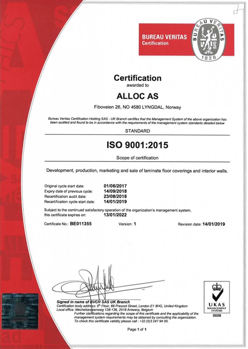 Сертификат качества ISO 9001(2015)