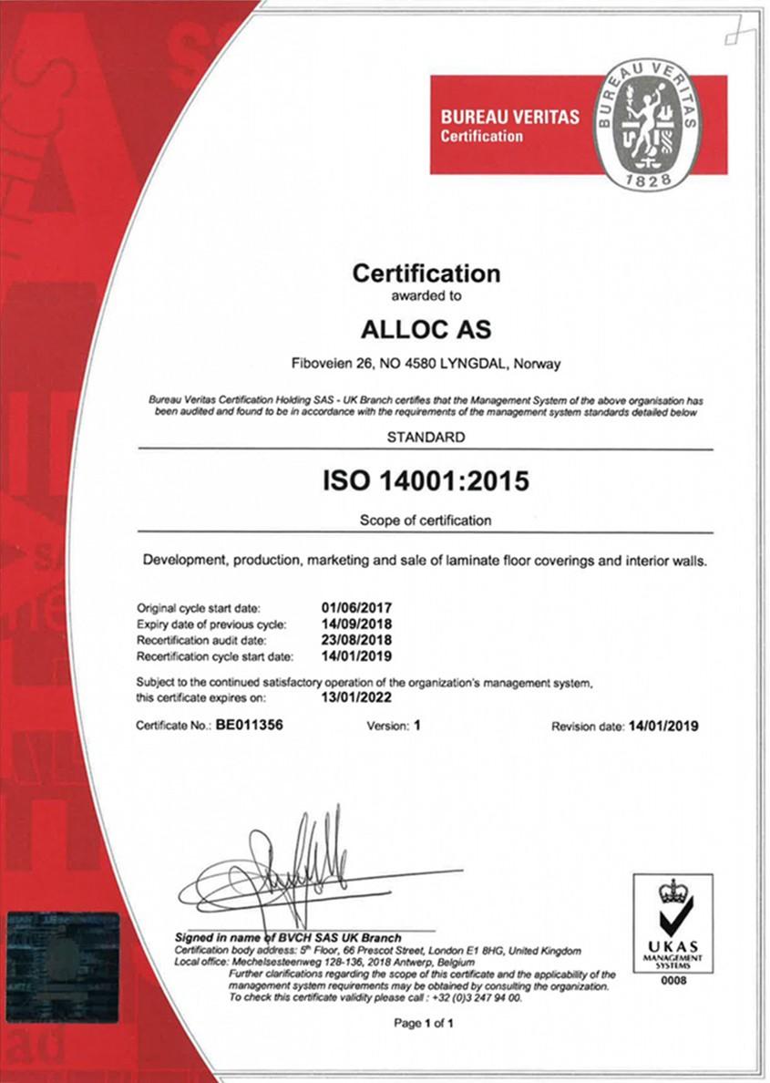 Сертификат качества ISO 14001 (2015)