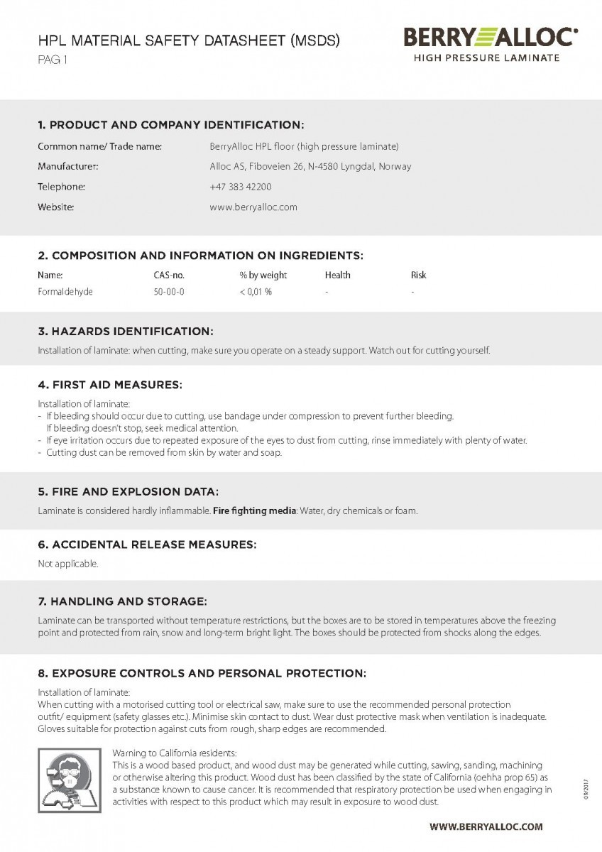 Данные по безопасности материала (1 стр.)